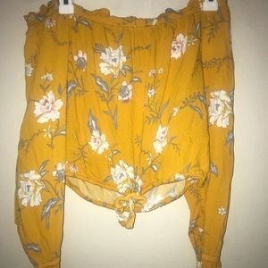 Pacsun yellow floral off the shoulder crop top
